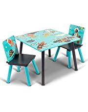 Home Canvas Little Explorer Kids Wooden Table and Chair Set for Toddlers, Play Room Furniture for Kids, Blue