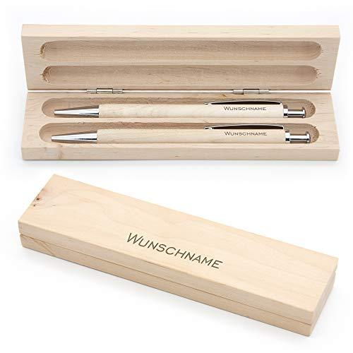 Schreibset mit Namen: Kugelschreiber und Bleistift graviert - aus Holz in einer schlichten Box