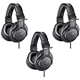 Audio-Technica 3 Pack ATH-M20x Professional Monitor Headphones, 96dB, 15-20kHz, Black - with Microfiber Cloth
