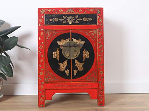 Yajutang chinesische Kommode Sideboard 1 Schublade 2 Türen bemalt rot …