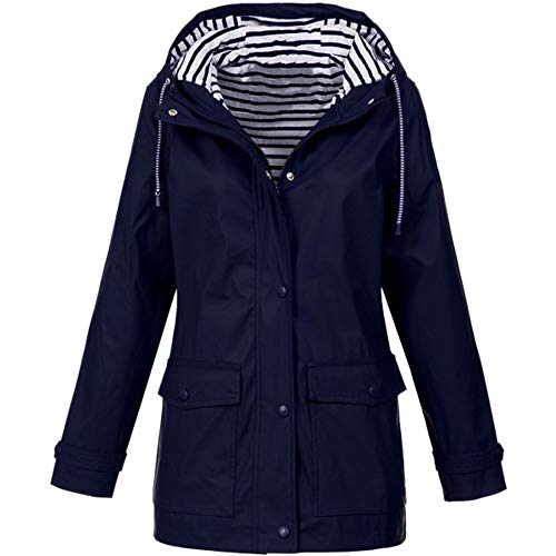 LIHAEI üBergangsjacken Damen FrüHling Windbreaker Regenjacke Atmungsaktiv Wasserdicht Winterjacke Lang Outdoor Jacken Windproof Jacke Funktionsjacke (XXXL, Dunkelblau)