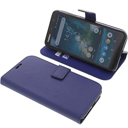 foto-kontor Tasche für Ruggear RG850 Book Style blau Schutz Hülle Buch