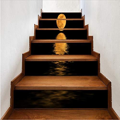 Treppen Aufkleber Kreative Mode Mond See Wasser Spiegeleffekt Zitat Abnehmbare Treppe Aufkleber Wohnkultur DIY Aufkleber 1 Satz / 6 Stücke