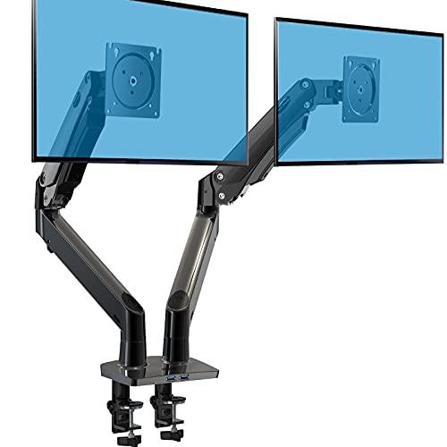 HUANUO Support Ecran PC 2 Ecran Ultra-Large de 15 à 35 Pouces, Bras pour Écran PC à Ressort à Gaz avec Câble USB, Bras Ecran PC à Mouvement Complet Pesant Jusqu'à 12 kg