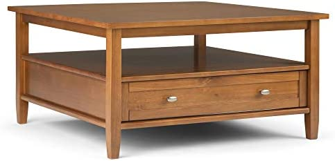 Best Simpli Home Warm Shaker Square Coffee Tables, Light Golden Brown