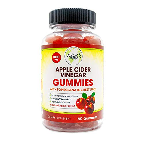 Apple Cider Vinegar Gummies Natural Weight Support 1000mg - ACV Gummy Vitamin Supports Digestion & Cleanse with Vitamins B12, B9, Beetroot, Pomegranate - Vegan, Non-GMO - 60 Gummies