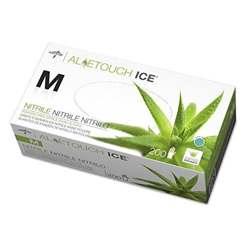 Medline Aloetouch Ice Powder-Free Nitrile Exam Gloves, Green, Medium