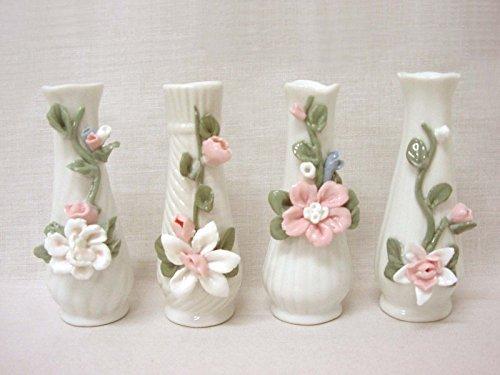 Desconocido Set 4 VIOLETEROS FLOREROS JARRONES Ceramica Blanco Colores Variado