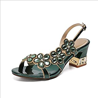 Women's sandals high heels with open toe, rhinestones/crystal, casual sweetness, daily, party and evening, PU purple/red/gold/green/blue in summer,Green,US10/EU41
