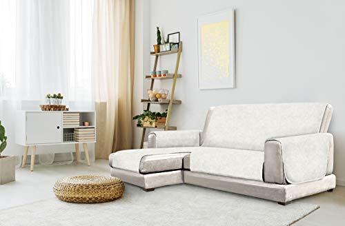 "Italian Bed Linen ""Glamour"" rutschfest Sofa Abdeckung mit Chaise-Longue Links, Creme, 290cm"