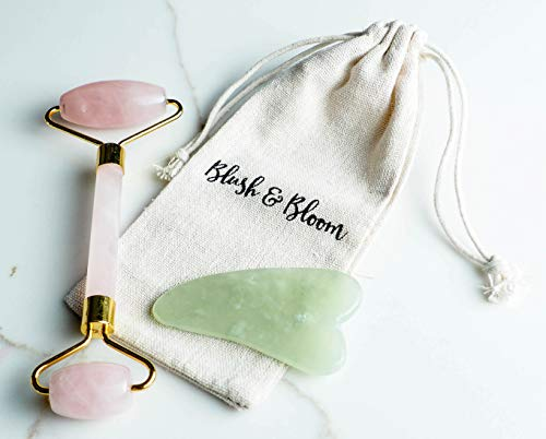 Blush and Bloom Jade Roller for Face and Gua Sha Tool Set - Pink Rose Quartz Roller - Face Massager for Face Lift, Depuffing Eye Bags - Facial Roller for TMJ, Jaw Slimming, Anti-Aging