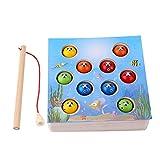 Felenny Holz Magnetisches Angelspiel Spielzeug 10 Kleine Fische mit Rute Umweltfreundliches Interaktives Lernspielzeug Lernbrett Spielzeug Geeignet für Baby Kinder Geschenk