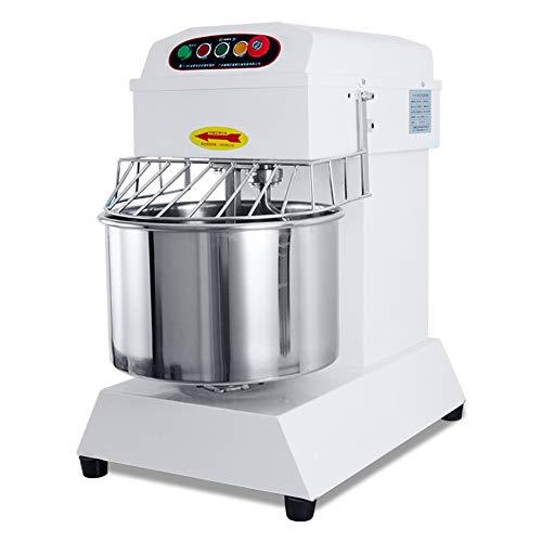 Mezclador de alimentos comercial - Mezclador de masa resistente de 20L 1500W 2 velocidades con cuenco de acero inoxidable, ganchos para masa, batidor, protector de seguridad