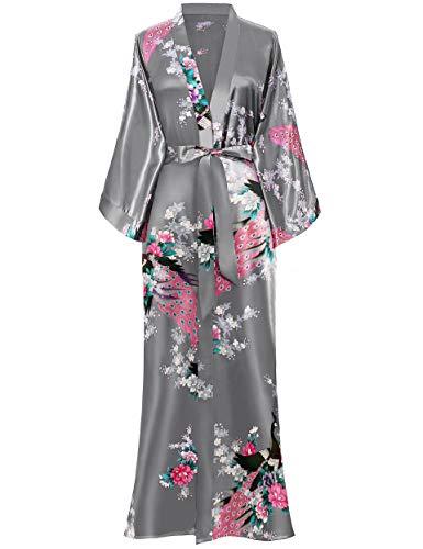 "BABEYOND Kimono Robe de Nuit Femme Robe de Chambre Longue Robe de Nuit Peacock Kimono Long Chemise de Nuit Kimono 53""/135cm(Gris)"