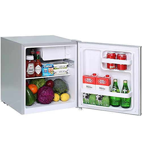 Mini Fridge,1.7 Cu.Ft. Small Refrigerator,Energy Star Small Fridge,One-touch Easy Defrost,6 Temperature Settings,Low Noise,Reversible Doors,Compact Refrigerator for Bedroom,Office,Dorm,Basement (Sliver)