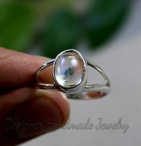 925 Sterling Silver Ring,Natural Moonstone Ring,Handmade Ring,Gemstone Ring,Cabochon Gem Ring,Statement Ring,Gift For Her.Engagement Ring