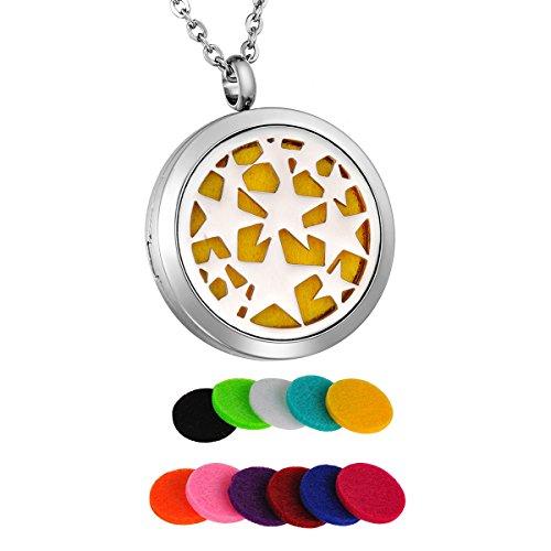 HooAMI Parfüm Halskette fünfzackigen Stern Anhänger für Aromatherapie ätherisches öl mit 11 Pads 60cm Kette