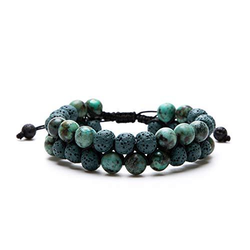 Aromatherapy Essential Oil Diffuser Bracelet Lava Stone Bead Gemstone Anxiety Diffuser Bangle Cuff Bracelet(Dark Green)