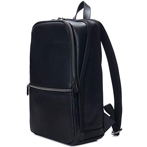 "Alpine Swiss Men's Sloan Slim 14.1"" Laptop Backpack Top Grain Leather Black"