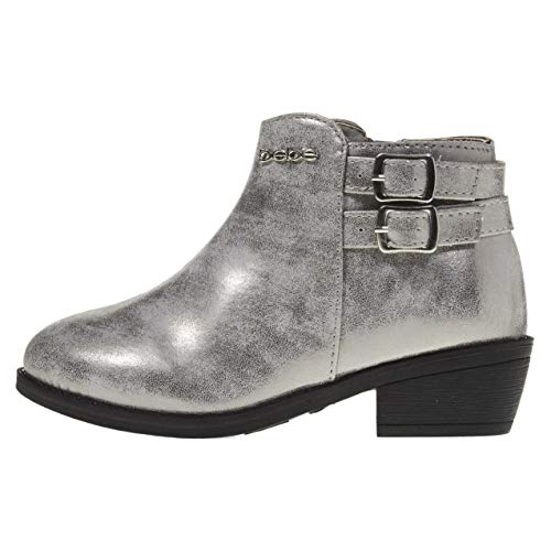 bebe Girls Ankle Metallic Boots Size 11 Double Buckle Zipper Fashion Shoes Silver