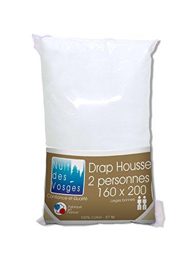 Nuit des Vosges 2094435 Cotoval Drap Housse Uni Coton Blanc 160 x 200 cm