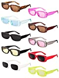 10 Pairs Small Rectangle Sunglasses Women Retro Square Glasses Vintage Wide Frame Eyewear for Women Girls