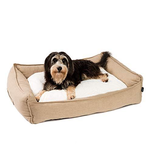 JAMAXX Premium Hundebett in edler Leinen-Optik/Orthopädisch Memory Visco Schaumstoff, Waschbar Bezug Abnehmbar, mit Wendekissen, Hochwertiger Hunde-Korb Hundekörbchen S-XL (M) 90x70 Coffee-beige