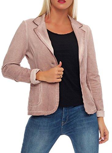 Malito Damen Blazer im Washed Style | Sakko im Basic Look | Kurzjacke mit Knöpfen | Jacke - Jackett - Blouson 1652 (rosa, XL)