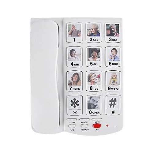 Riiai Teléfono fijo con cable de botón grande para personas mayores con...