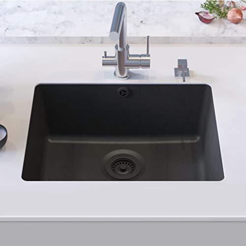 Festnight Granitspüle Einzelbecken   Küchenspüle Spüle   Unterbau Spülbecken   Schwarz Granit 1-Becken