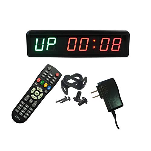 Ledgital Gym Timer with Remote 1.8 Crossfit Clock for Home Gym | 13.4 Wx4 H Wall Mount Countdown/up Timer for Gym| US Plug | Green+Red Color