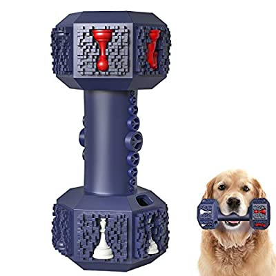 Iokheira Dog Chew Toys for Aggressive Chewers Indestructible Dog Toys Innoxious Tough Rubber Dumbbell Toy for Medium Large Dogs (Blue)