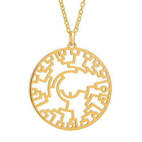 Boutique Academia Phylogenetic Tree of Life Necklace (Yellow-Gold-Plated-Stainless-Steel)