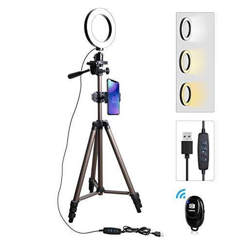 Anillo de luz - Trípode de teléfono móvil Tryone Trípode de Soporte de transmisión en Vivo con Anillo de luz LED Regulable de 6 Pulgadas para Youtube Tiktok Vine Selfie o Maquillaje