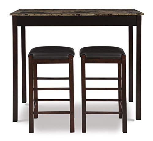 Linon Brown 3-Piece Table Faux Marble Tavern Set, 42' w x 22.25' d x 36' h