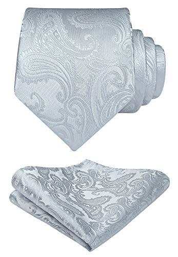 HISDERN Panuelo de corbata gris paisley para hombre Conjunto de corbata de fiesta de boda y panuelo de bolsillo