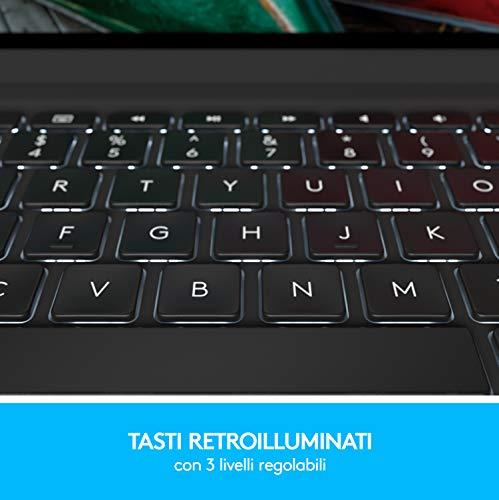 Logitech SLIM FOLIO PRO, Custodia Bluetooth con Tastiera Retroilluminata per iPad Pro da 12.9 Pollici (3a e 4a generazione)