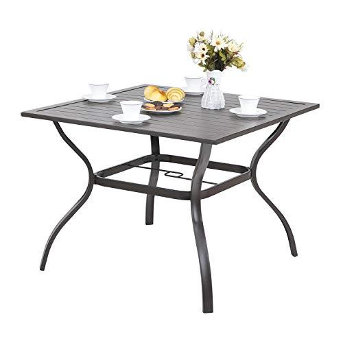 "MFSTUDIO Metal Steel Slat Patio Metal 37 inch Dining Table Steel Slat Bistro Large Square with 1.57"" Umbrella Hole - Brown"