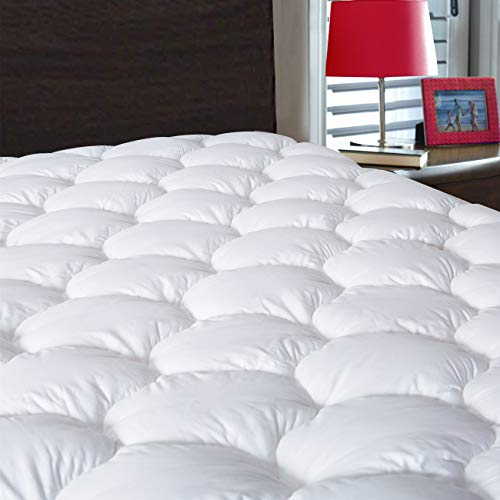 DROVAN Waterproof Mattress Pad Cover Queen Size - Breathable Soft Fluffy - Pillow Top Cotton Top Down Alternative Filling Cooling Mattress Topper
