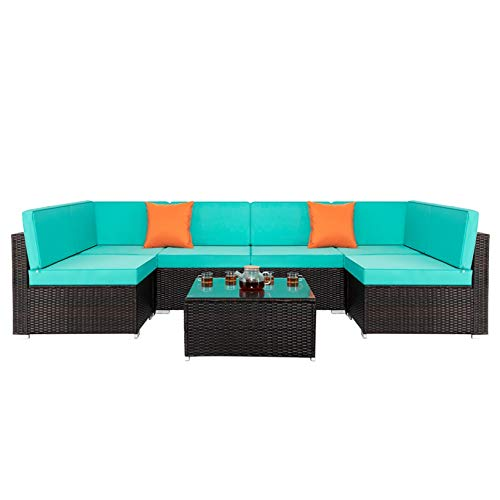 7 Piece Rattan Sofa - for Living Room, Modern Contemporary Home Studio Furniture