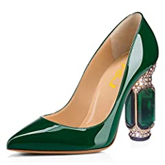 """DAINTY HEIGHT: High-heel measures approx. 12 CM cm/4.75"""", 10 CM cm/4""""(varied slightly by size), the best height to show your perfect figure with leg lengthening magic. VERSATILE STYLE: These stylish sexy pumps are characterized by pointed toe, Mid he..."""