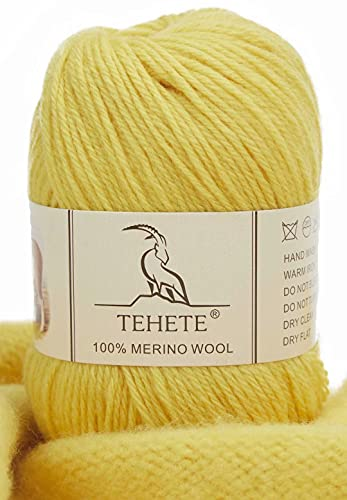 TEHETE 100% Filato di lana merino superfine, filato di lana all uncinetto per neonati, filato di lusso per maglieria a mano morbida, 009