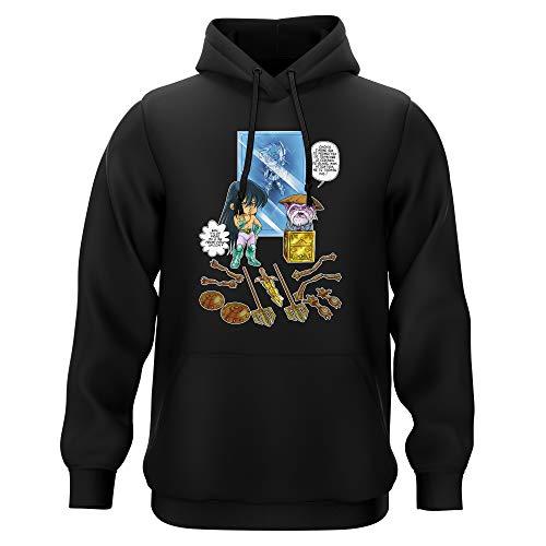 Sweat-shirt à Capuche Noir parodie Saint Seiya - Shiryu du Dragon et Dohko chevalier d'or de la Balance - Un choix très difficile... (Sweatshirt de qualité premium de taille 3XL - imprimé en France)