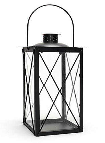 levandeo Laterne aus Metall und Glas - Windlicht Farbe schwarz - Tischlaterne Kerzenhalter Kerzenständer Gartenlaterne Gartenbeleuchtung Dekoration