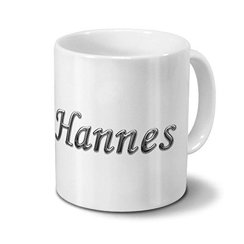 Tasse mit Namen Hannes - Motiv Chrom-Schriftzug - Namenstasse, Kaffeebecher, Mug, Becher, Kaffeetasse - Farbe Weiß