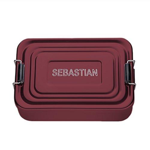 Casa Vivente Brotdose aus Aluminium mit Gravur, Eckig, Rot, Personalisiert mit Namen, Persönliche Lunchbox für die Arbeit