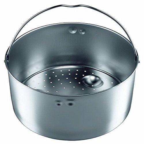 Silit Sicomatic Schnellkochtopf Dampfgarer Einsatz, Edelstahl Dünsteinsatz gelocht hoch, für Schnellkochtöpfe 3,0-8,5l, spülmaschinengeeignet