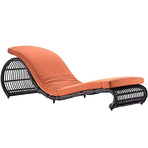 DGDF - Sedia per chaise longue da giardino, in polietilene, con schienale regolabile in resina e rattan