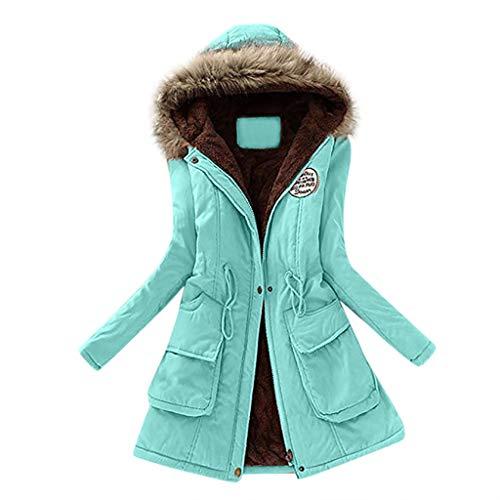 JURTEE Damen Winterjacke,Wintermantel Lange Daunenjacke Jacke Outwear Winter Warm Trenchcoat mit Abnehmbarer Pelzkragen Parka Outwear Mäntel (XL, Z-1 Apfel Grün)