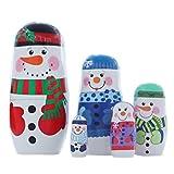 SUPVOX Muñecas Matrioska De Madera Muñeco De Nieve Muñecas Rusas De Anidación 5 Capas Juguetes para Niños Fiesta De Invierno De Navidad Deseo De Regalo